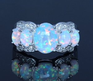 Bagues en opale de feu blanches pour femmes, designer de soirée à la mode, bagues pour femmes