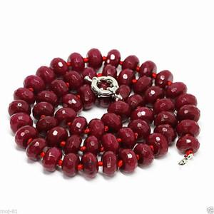 8x10m Natural Brasil Rojo rubí facetado Rondelle gemas Collar de las gotas 18