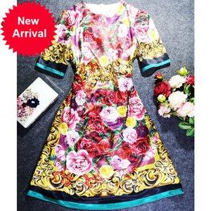 più nuovo vestito da modo di estate 2020 di design floreale manica corta delle donne della stampa d'epoca Slim A-Line abito elegante