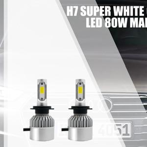سيارات ضوء 2PCS السيارات العلوي لمبة H7 مجموعات صغيرة الحجم LED السيارات 6000K 8000LM السوبر مشرق رقائق COB للمصابيح الأمامية لمبة