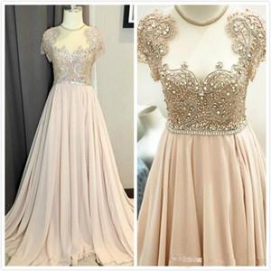 2020 Arabisch Aso Ebi Chiffon Prom-Partei-Kleid Transparenter Ansatz reizvolle Perlen Crysta-Brautkleider nach Maß Informal Abend Anlass Kleider