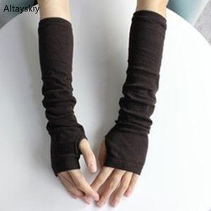 Womens Quente Arm Warmers Mulheres Winter malha na moda Lazer doce de manga comprida elegante senhoras Fingerless externas All-match Sólidos