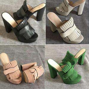 Женские роскошные дизайнерские сандалии. Высокие каблуки Marmont. Платформа с бахромой.