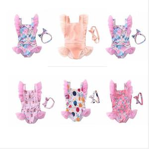 Maillots de bain pour enfants Baby Girls imprimé floral One-Pièces dentelle Bikini bowknot Bandeau costumes d'été Mesh princesse Maillot de Bain Hairband Ensembles AYP597