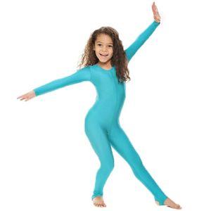 Kızlar dans Jimnastik Uzun kollu Unitard çocuklar için Catsuit üzengi Likra gösterisi Sahne Giyim Zentai çocuk Unitards