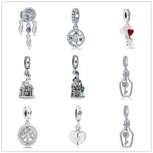 nouvel arbre du château de princesse bleue Livraison gratuite MOQ 20pcs argent rose famille COEUR BALLONS perle diy Fit origianl Pandora Charm Bracelet D053