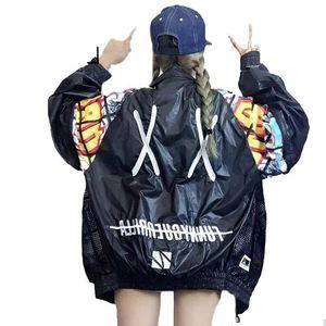 Yeni Hollow Out Back Nakış Bombacı Ceket Unisex Stil gevşetin Ceket Öğrenci Harajuku Oversize Kadın Temel Coats Kabanlar Giyim