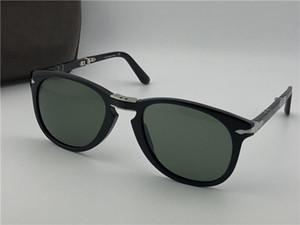 Lunettes de soleil Fashion 714 lentille en verre cadre pliant pilote rétro classique des lunettes de protection UV400 avec étui en cuir
