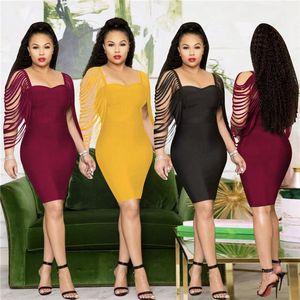 Vêtements Femme Mode Style Sexy Casual Robes Femmes d'été Solid Designer Couleur Boycon Robe bustier Tassel