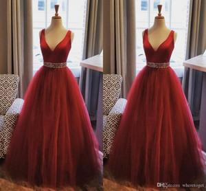 Elegant Burgundy A Line Evening Dresses V Neck Sleeveless Floor Length Tulle Beads 2020 Prom Gowns