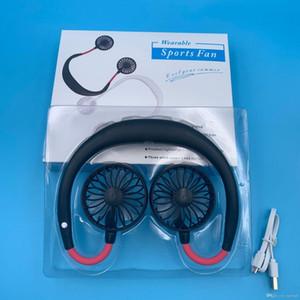 Pendurado Neck Fan 3 cores de carregamento USB portátil de viagens Fan Sports preguiçoso criativo Mini carro Fans