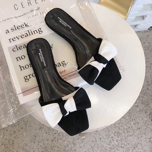 Gorgeous2019 Anna New Black and White Spelling Color Flat Bottom Square Down Noodles Bow Nothing Heel Otra ropa Half Slipper