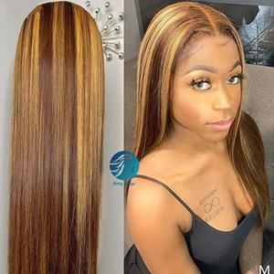 La miel rubio Ombre color invisible del cordón de la peluca llena PrePlucked rayita Resalte 150% Frente Humano de encaje pelucas de pelo brasileño de Remy Negro Mujeres