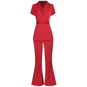 wholesale Designer Women Summer Short Sleeve Lace Up Suit Top + Fashion Pants Black Suit 2020 Summer Set Twinset OL Lady