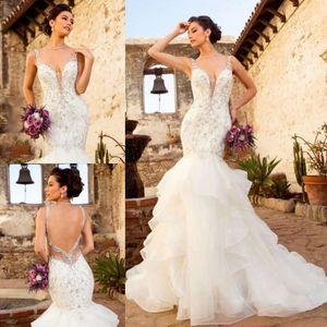 Kitty Chen 2019 sereia hierárquico saias vestidos de casamento Lace Appliqued frisada V Neck vestidos de noiva Vestido De Novia vestido de noiva