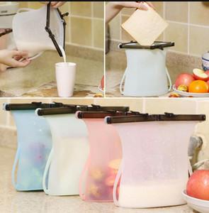Sacchetti freschi in silicone da 1000ml Schiuma pieghevole riutilizzabile Sacchetto di frutta al latte Sacchetto fresco Sacchetto di immagazzinaggio alimentare in silicone LJJK1168
