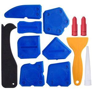 12 pezzi Strumenti per sigillanti Kit di utensili per sigillante Sigillante siliconico Strumento di finitura Raschietto per raschietto Rimozione di mastice e mastice Ugello e Cau