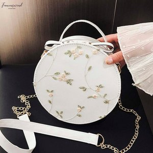 2020 New Sweet Lace Round Handbags High Quality Pu Leather Women Crossbody Bags Female Small Flower Shoulder Bag
