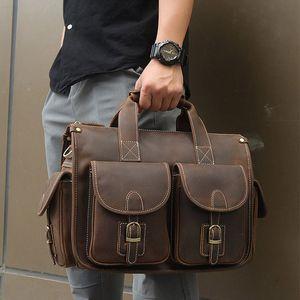 Vintage Herren Aktentasche echtes Rindsleder 16 PC-Laptop-Tasche Crazy Horse Leder Business Messenger Bag Arbeit Tote für Mann