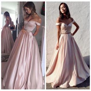 Cap cetim elegante luva do ombro Prom Dresses 2015 A-Line com vestidos de festa cintura saia plissada Luz rosa Vestidos Homecoming frisada