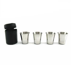 4pcs Stainless Steel Shot Glass Cup Drinking Mug Leather Cover Case Outdoor New