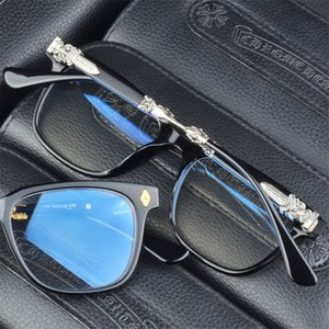 Neue Marke Chrome Brillen Retro Herren-Glas-Feld Mode Computer-Brillen Feld Frauen Schwarz 925 Silber Kunststoff Myopie Rahmen
