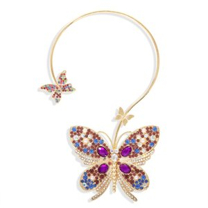 Colorful Crystal Butterfly Pendant Necklace Open Adjustable Metal Circle Statement Necklace 2020 Fashion Costume Jewelry for Women 1 Pc