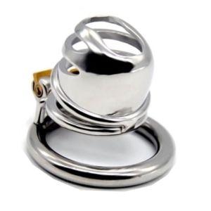 2019 Más nuevo Stealth Lock Dispositivo de Castidad Masculina de Acero Inoxidable Pequeño Pene Jaula de Martillo Anillo de Martillo de Bloqueo de Virginidad G7-1-259B