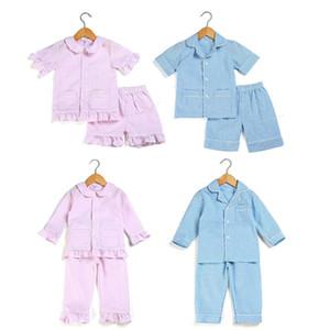 2020 niños del resorte fijan pijamas de verano 100% pjs seersucker de algodón muchachas del niño ropa de dormir ropa de dormir chicos Y200704