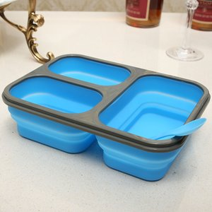Large Capacity Silicone Collapsible Portable Lunch Box 1100ml Microwave Oven Bowl Bento Box Folding Food Storage Lunchbox T200530