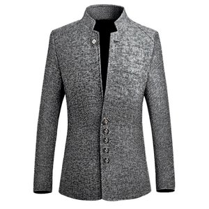 Blazer Uomo 2019 primavera nuovo stile cinese Business casual collare Stand giacca sportiva da uomo Slim Fit giacca sportiva