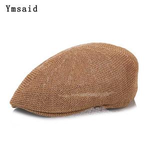 New Fashion Summer Men's Beret Newsboy Cap Casquette Gorras Casual Linen Sun Hats Visor Breathable Straw Hat Bone for Women Y200602