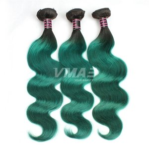 1B Green Brazilian Body Wave Human Hair Virgin Human Hair Extensions Ombre Color Brazilian Hair 3 Bundles Lot VMAE