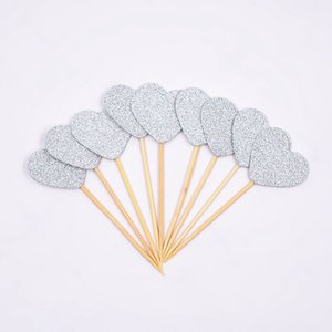 10PCs Glitter Paper Cake Topper Happy Birthday Heart Star Cupcake DIY Cake Top Flags BirthdayParty Decoration For Home New Year