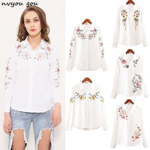 nvyou gou 2019 Floral Embroidered Blouse Shirt Women Slim White Tops Long Sleeve Blouses Woman Office Shirts plus size MX200407