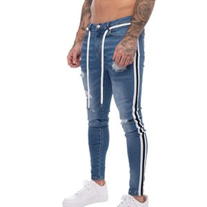 Men Fashion Side Stripped Jeans Ripped Jeans 2019 New Men Hole Distressed Patchwork Denim Pencil Pants Casual Slim Fit Jeans Hot T200410