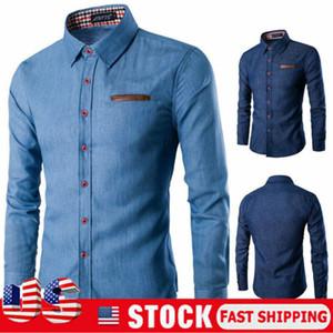 Джинсовая рубашка Мужчины хлопок джинсы Мода осень Тонкий с длинным рукавом рубашки ковбоя Стильный Wash Тонкий Tops Азиатский размер