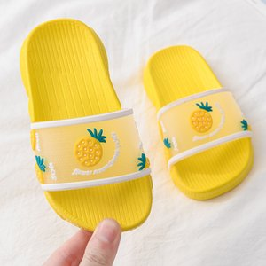 Kids Slippers Summer Shoes Childrens Strawberry Peach Home Indoor Soft Bottom Non-slip Parent-child Sandals Slides