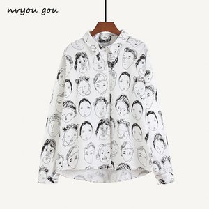 Nvyou Gou Fashion Character Printed Blouse Women Graffiti Blouses Streetwear Turn Down Collar Long Sleeve Cotton Loose Shirt MX19070501
