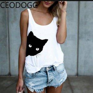 CEOdogg o образным вырезом mutlicolor пуловер нижняя футболка женщины сексуальная рукавов off shoulder cat pattern тройники хлопок свободный топ