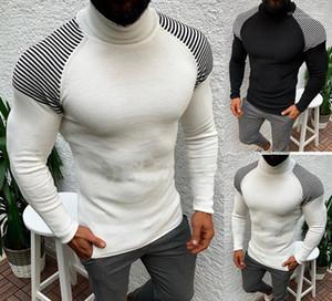 Maniche lunghe Collo Maglioni Abbigliamento Uomo Autunno Mens Maglioni modo casuale del progettista del modello Slim a righe
