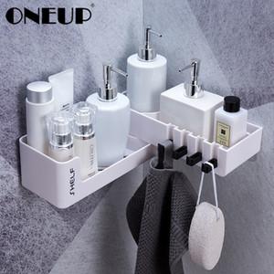 Oneup Drehbare Badezimmer Organizer mit 4 Haken der Wand befestigter Für Küche Storage Organisation Regal Eckdusche Shampoo Halter T200320