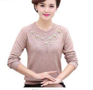 Maglioni invernali delle donne di mezza età Pullover Plus Size 4xl Ispessito Warm O-collo Maglione di lana Vestito dalla madre Top W105