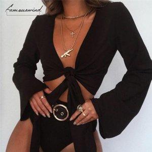 Recortar la calidad de la blusa de cuello V mujeres de la alta manera ocasional del tanque de la llamarada de manga larga Tops vendaje del frente del lazo Camisa Talla L