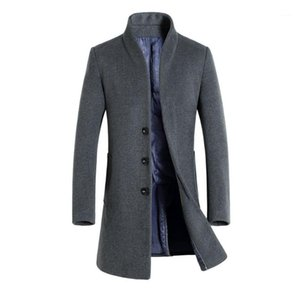 Fashion Hoome Clothing Winter Mens Solid Trench Coats Lapel Neck Long Coats Button Business Style