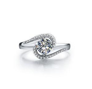 Sterling Silber 18 Karat Weißgold Abdeckung 0.5ct NSCD Synthetische Diamant Frauen Ehering Klassische Schmuck Verlobung Freies Verschiffen