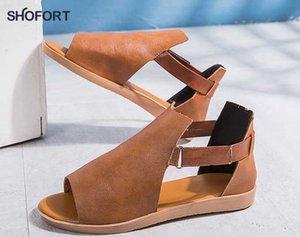 SHOFORT 2020 Sommer neue geflochtene Keil einfach mehrfarbige Lederschnalle der Frauen Fischmund-romanischen Sandalen Vernähen