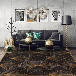 Living Marble or noir moderne Tapis Chambre verte Tapis géométrique entrée Vintage étage Pour Chambre