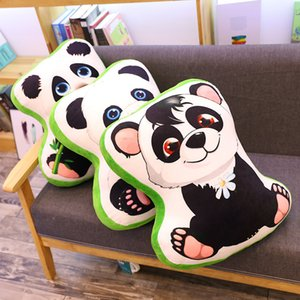 Printing Giant Panda Plush Pillow Animals Soft Throw Pillows Decor Cushion Bamboo Flower Sitting Pandas 50*50*10cm