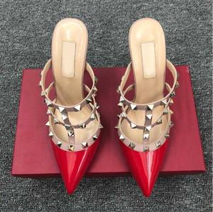 pattini delle donne v marca sandali tacco alto con rivetti 6cm 8 centimetri 10 centimetri sottili scarpe da sposa tacco punta One-word sandali Baotou 34-43